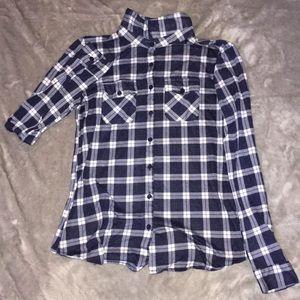 Navy Blue Button Down Flannel